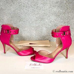 Valentino Pink  Rockstud peep-toe ankle strap Pump